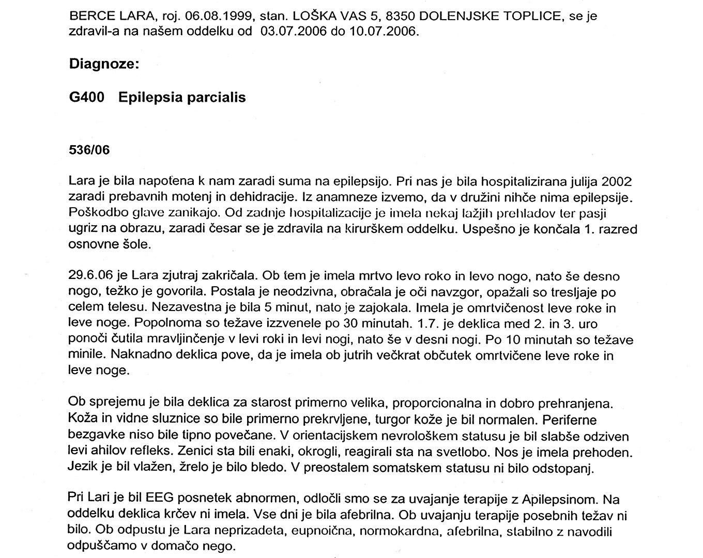 BERCE LARA, NOVO MESTO - WITHOUT EPILEPTIC SHOCKS | Dr  Tasić
